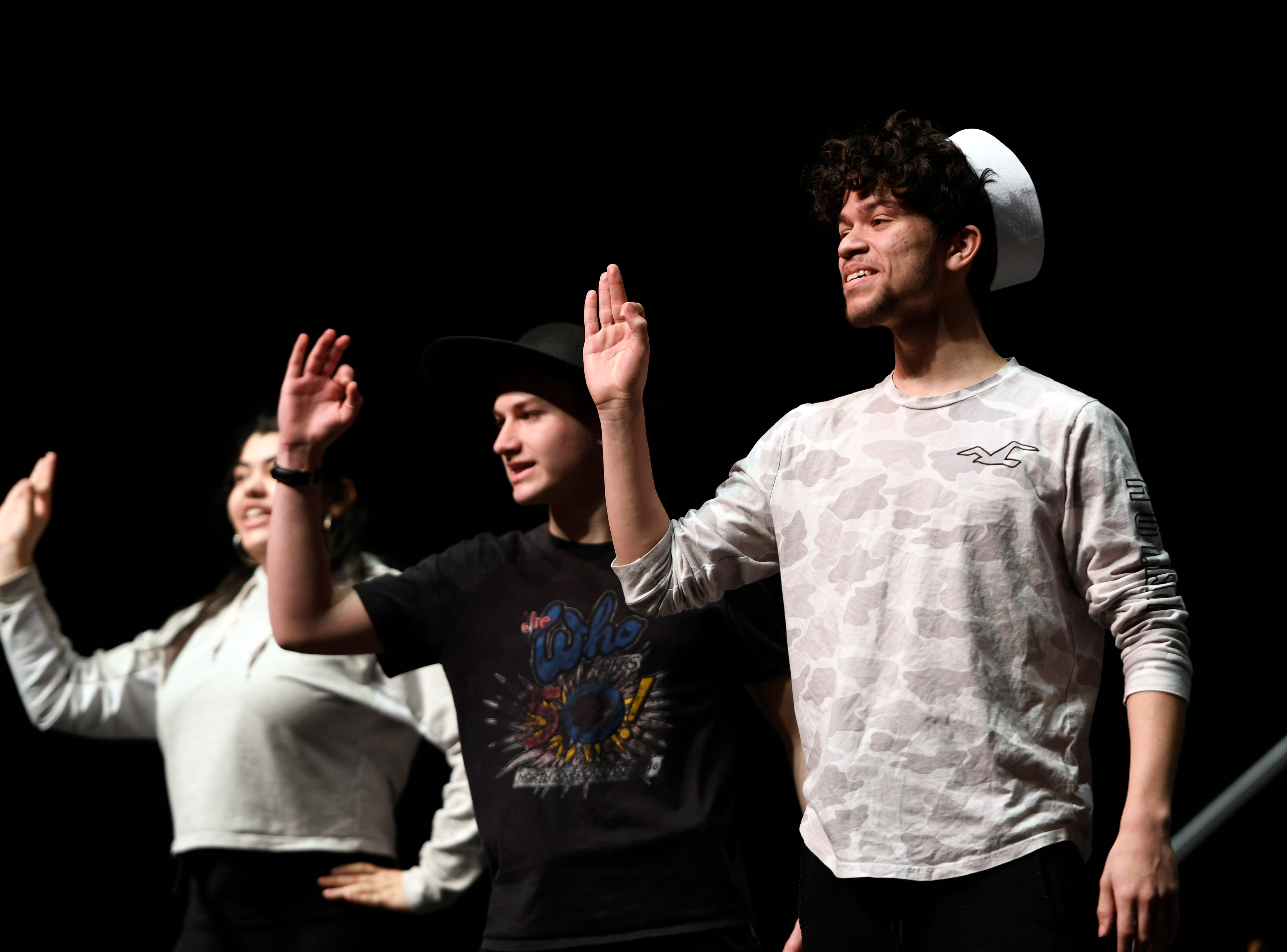 """(from right) Christian Collazo, Max Rubin, and Zariah Rivera perform during a dress rehearsal for the musical """"Anything Goes"""" on Monday, March 11, 2019, in Clifton."""