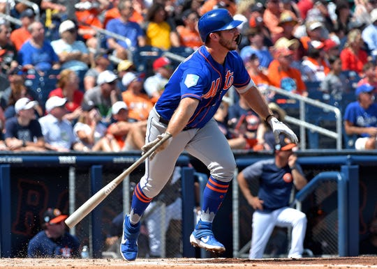 Mar 11, 2019; West Palm Beach, FL, USA; New York Mets first baseman Pete Alonso (20) connects for a double against the Houston Astros during a spring training game at FITTEAM Ballpark of the Palm Beaches.