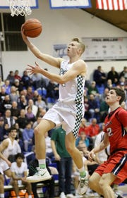 KC Hunt, of Ramapo, goes up for a basket against Saddle River Day last month. The Raiders lost in the NJSIAA Group 3 final to Moorestown on Sunday, March 10, 2019.