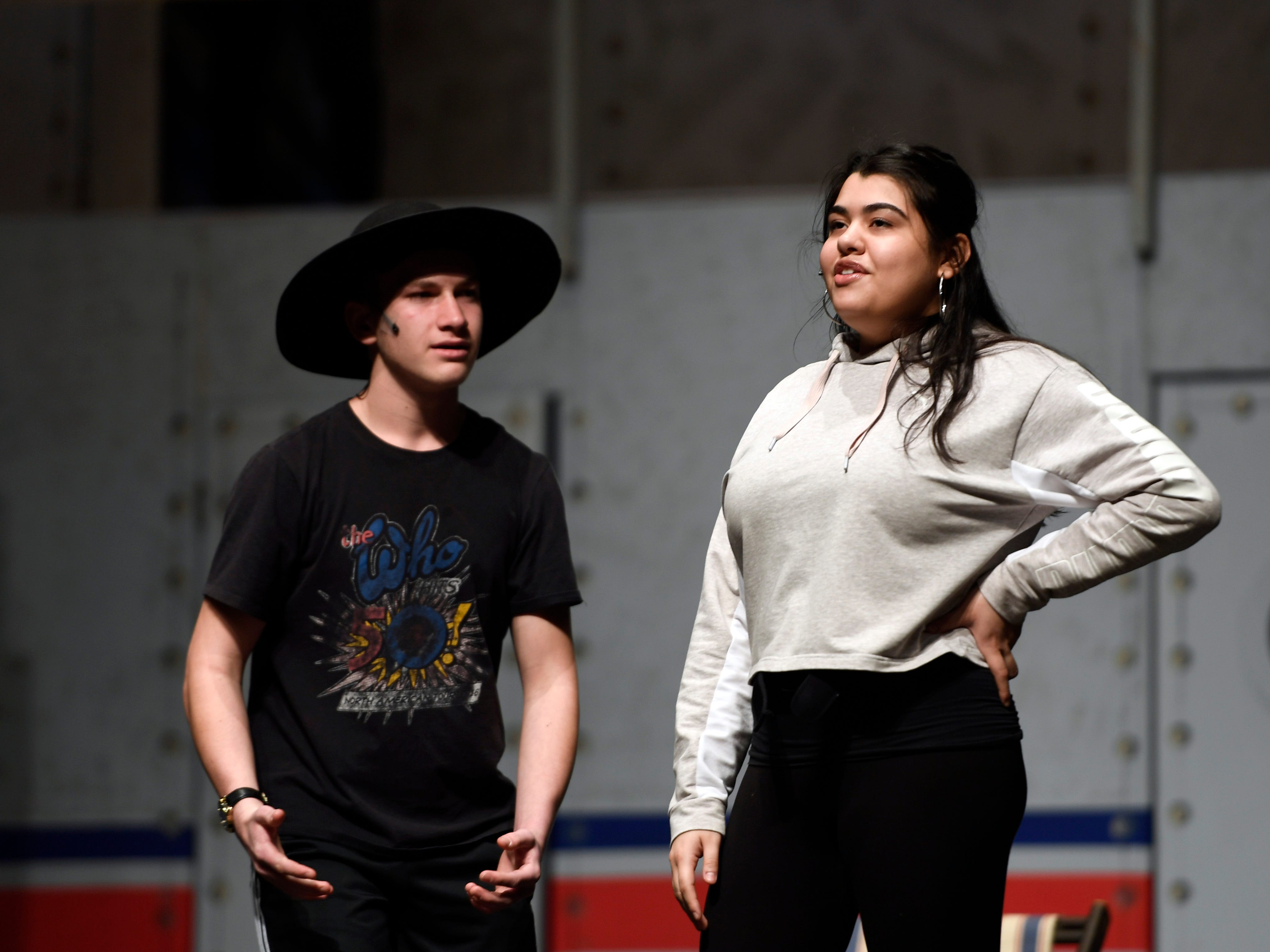 """(from left) Max Rubin and Zariah Rivera rehearse the musical """"Anything Goes"""" on Monday, March 11, 2019, in Clifton."""