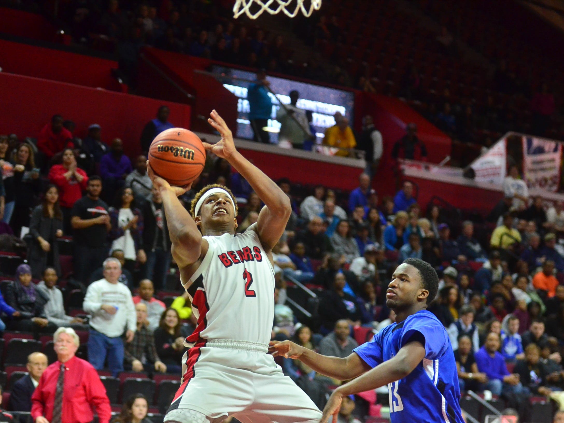 Bergenfield's Jovani Haskins makes a shot againt Ewing in the Group 3 State Finals on March 15, 2015. at Rutgers University. Bergenfield defeated Ewing 80-72.