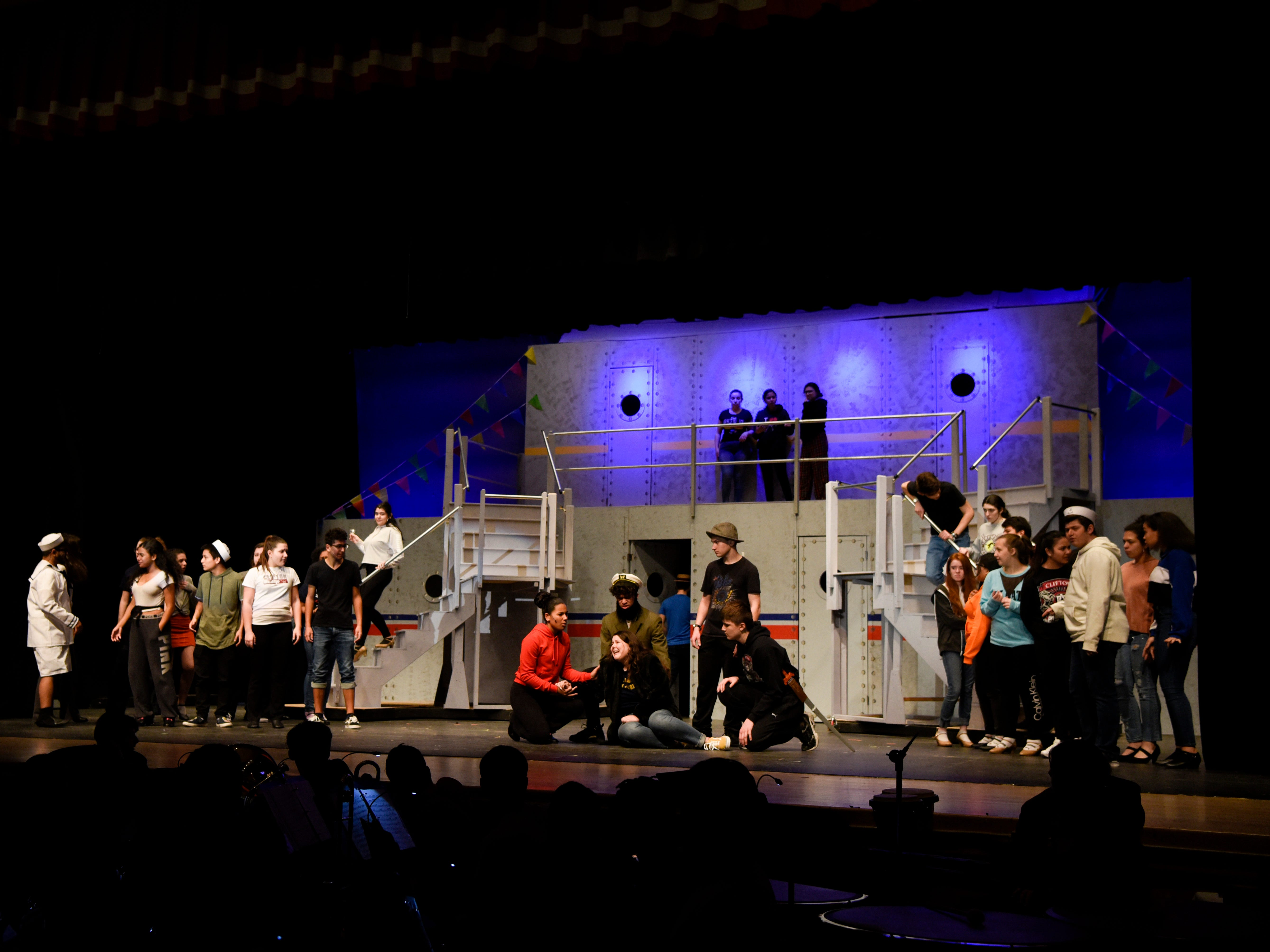 """Clifton High School rehearses """"Anything Goes"""" on Monday, March 11, 2019, in Clifton. The school will host three performances this weekend, on Friday night, Saturday night, and Sunday afternoon."""