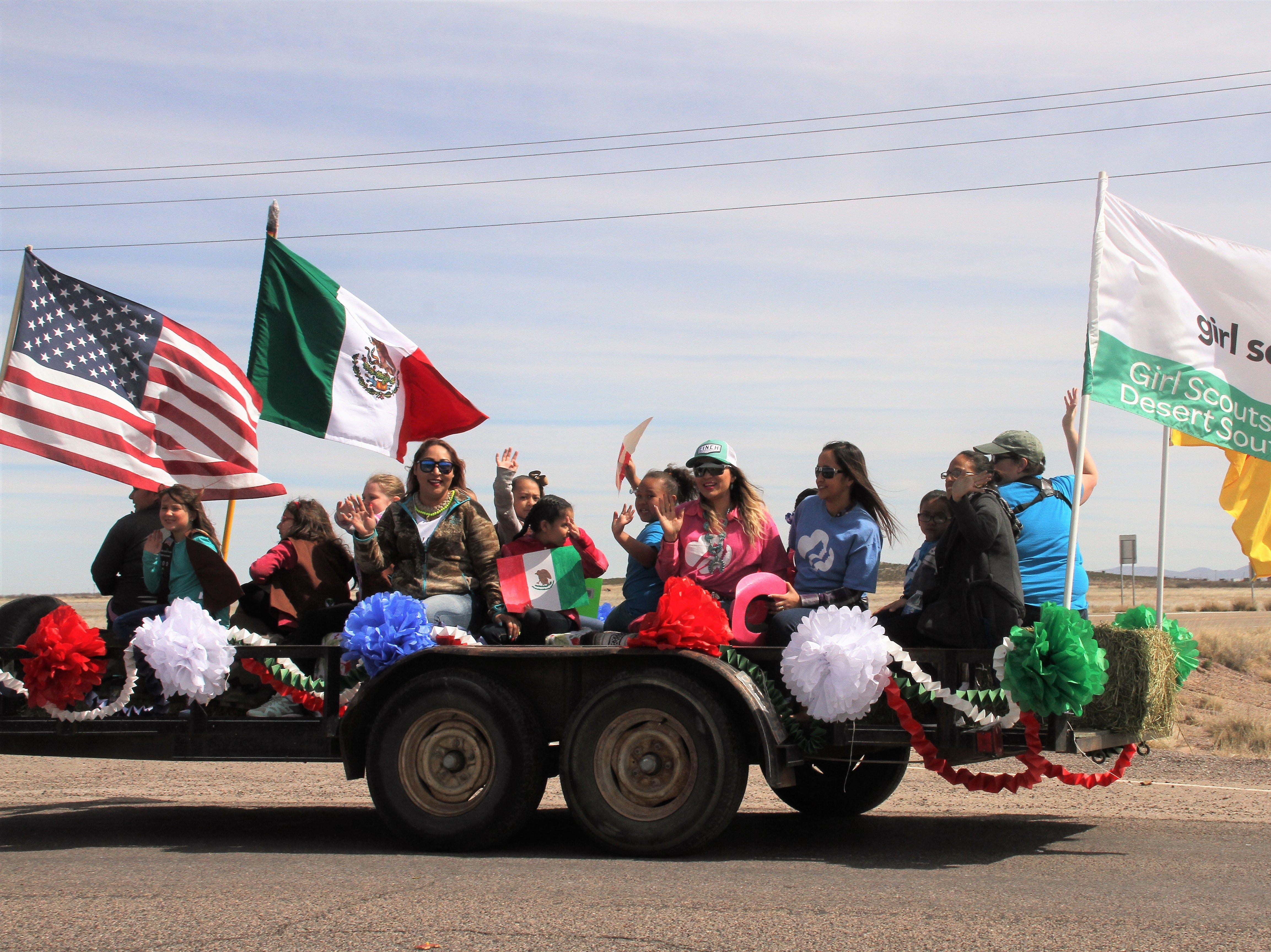 Columbus and Deming Girl Scouts participated as the only float in the Cabalgata.