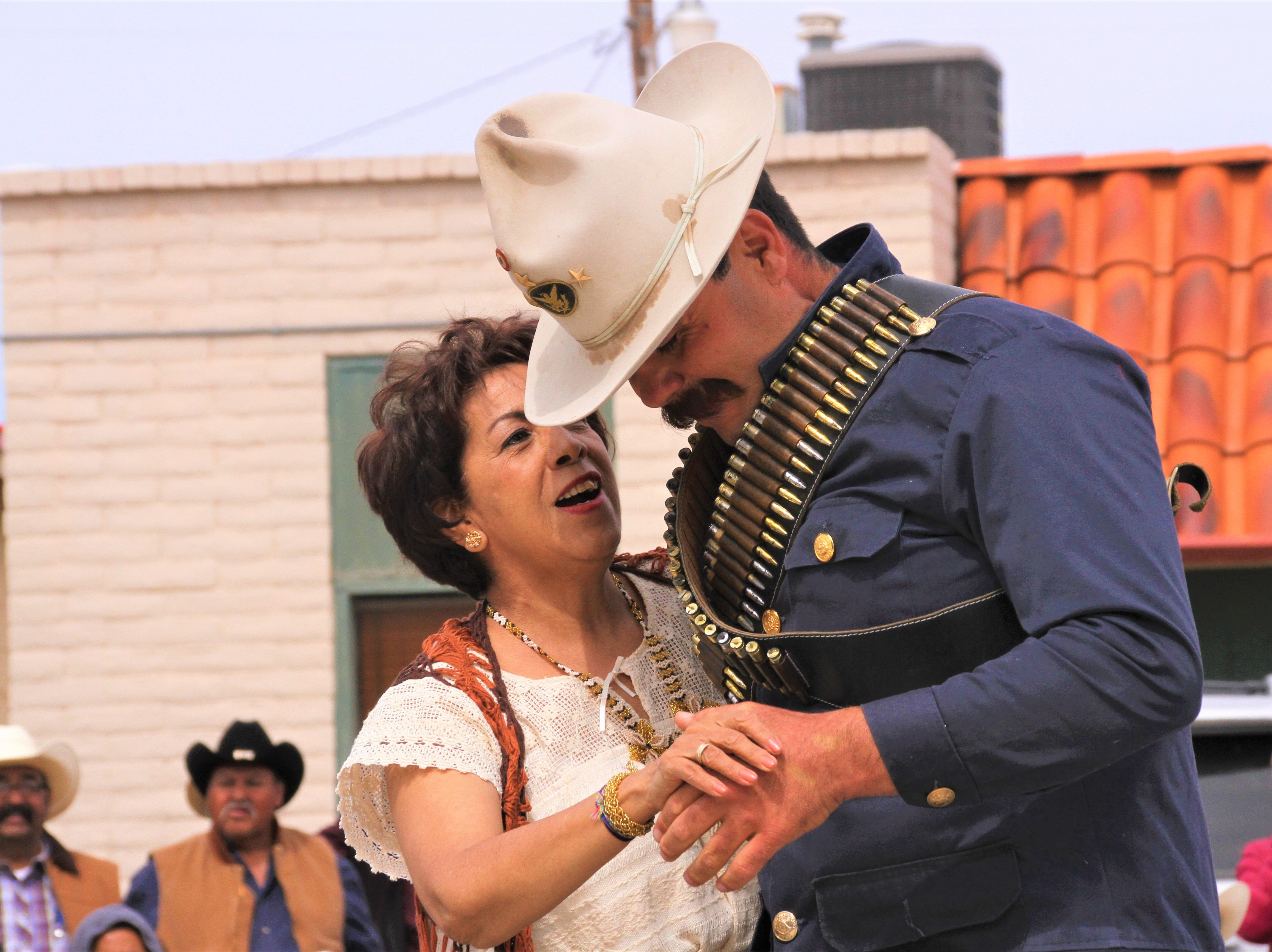 "Rosa Flores dancing with impersonator Franciso ""Pancho"" Villa. Flores was one of many to cut in and dance with Pancho."