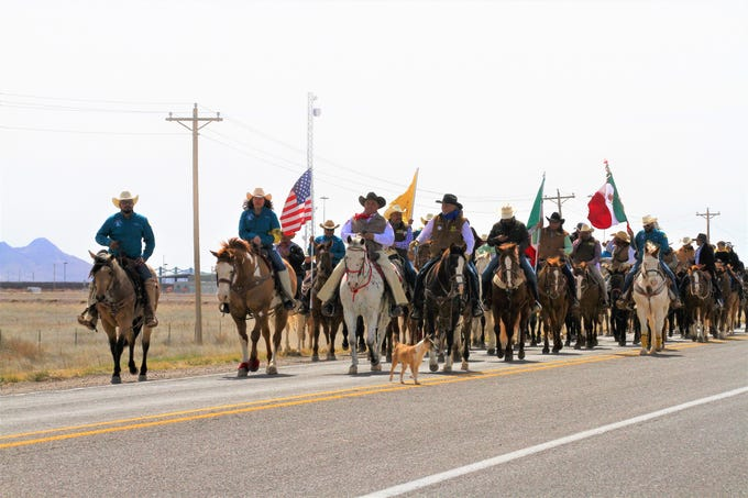 A mix of American and Mexican nationals riding horseback from the Palomas/Columbus port of entry.