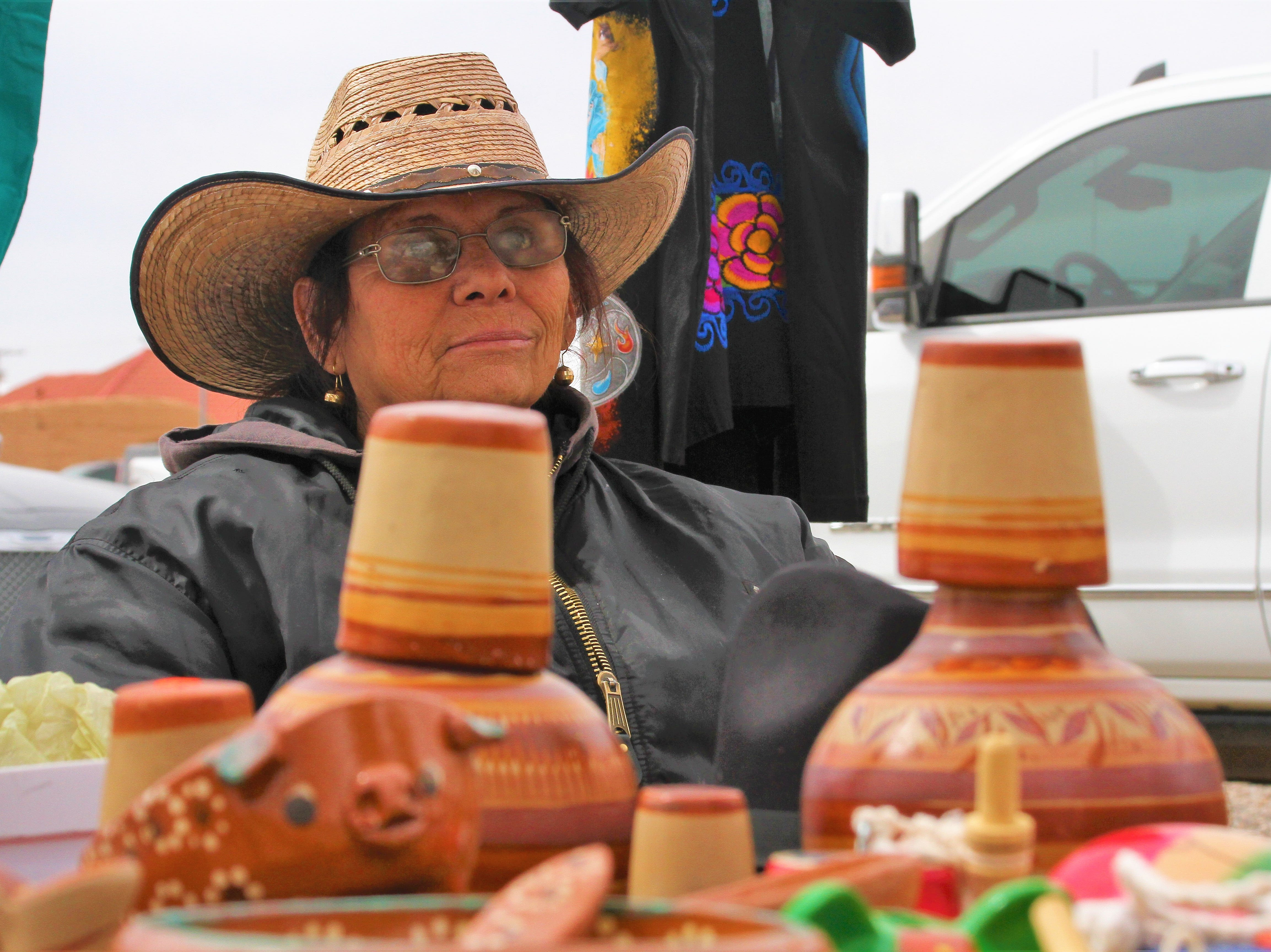 Silvia Regalado, of El Paso, Texas, was one of 19 vendors at the Binational Cavalry celebration. Regalado offered Mexican craftmanship items such as clay pots.