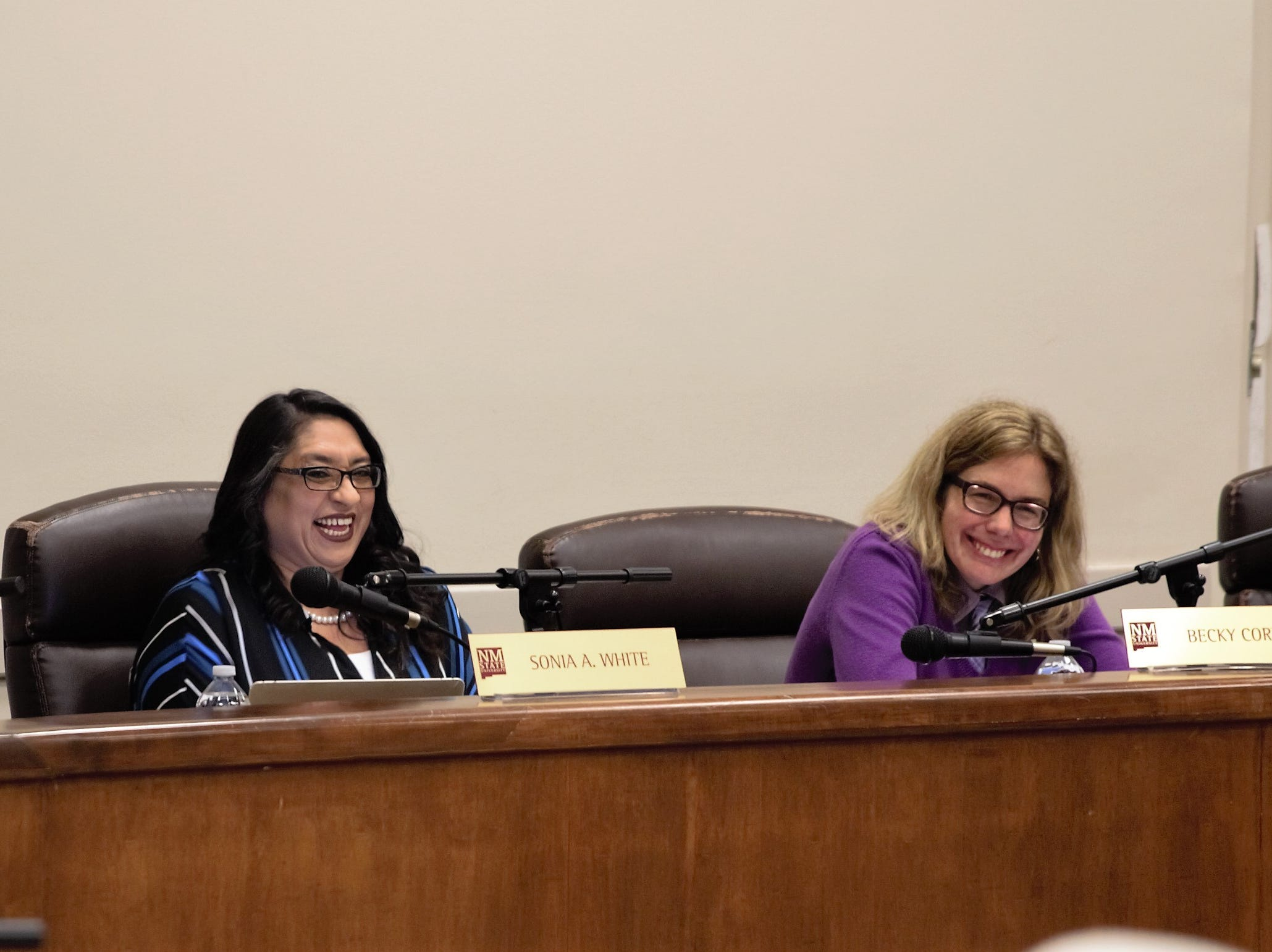 From left, NMSU Employee Council Chairwoman Sonia White and Faculty Senate Chairwoman Becky Corran at the regents meeting on March 8, 2019.