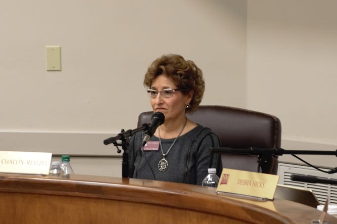 Newly sworn NMSU regent Dina Chacón-Reitzel was elected chairwoman during the March 8, 2019 regents meeting. Her term will conclude Dec. 31, 2024.