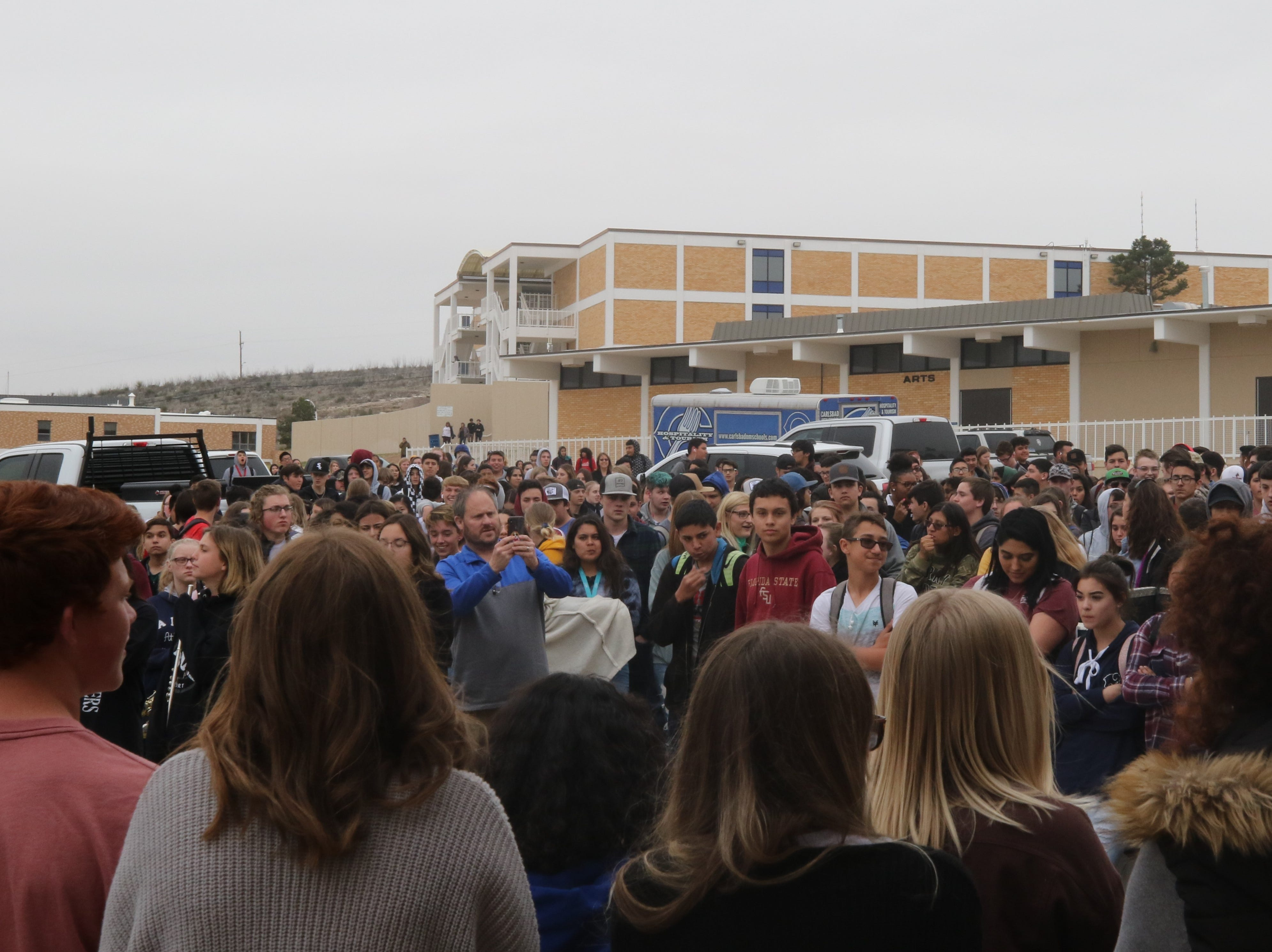 Carlsbad High School students gather at the Automotive Technology Building to celebrate a donation from XTO Energy, March 11, 2019 at Carlsbad High School.