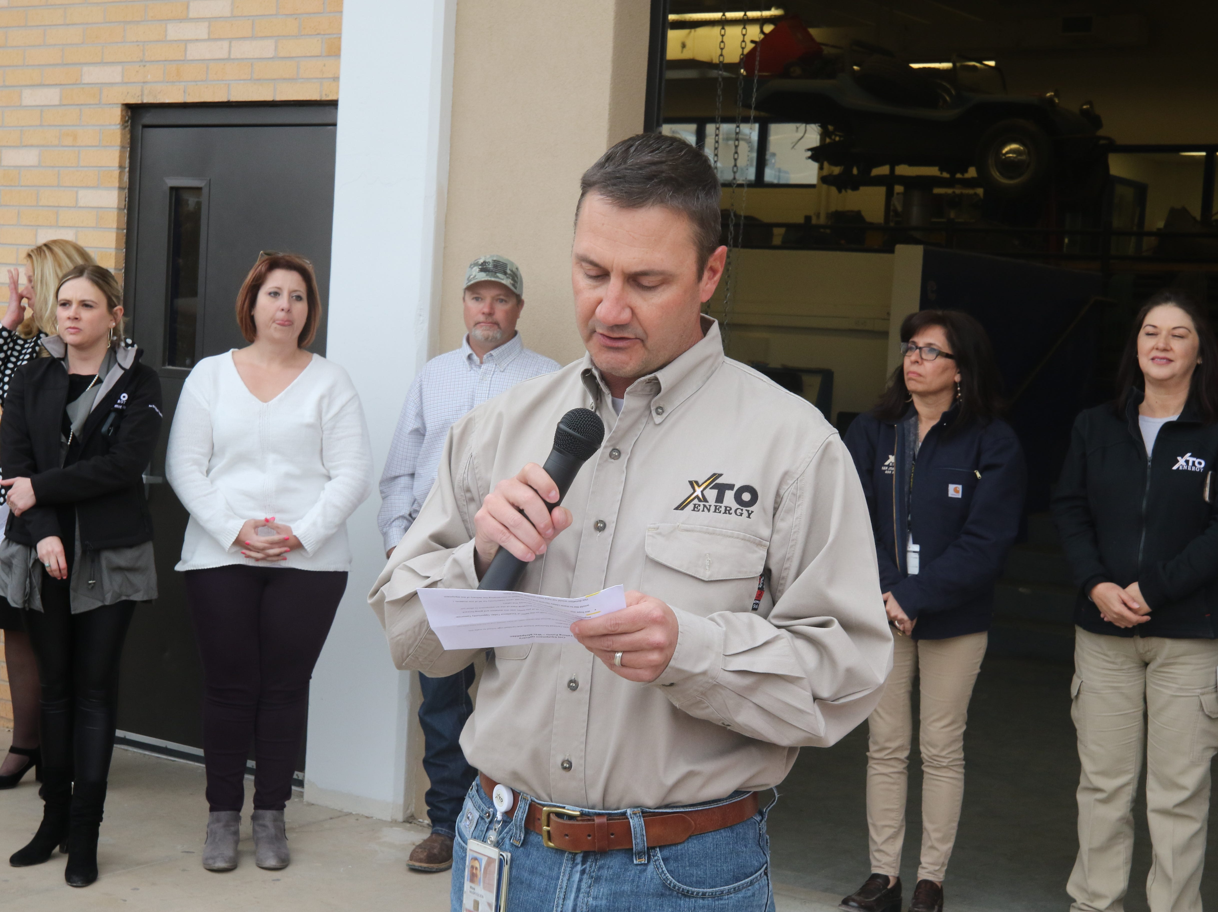 Wes McSpadden, superintendent of XTO Energy's Carlsbad office discusses the company's donation to Carlsbad Municipal Schools, March 11, 2019 at Carlsbad High School.
