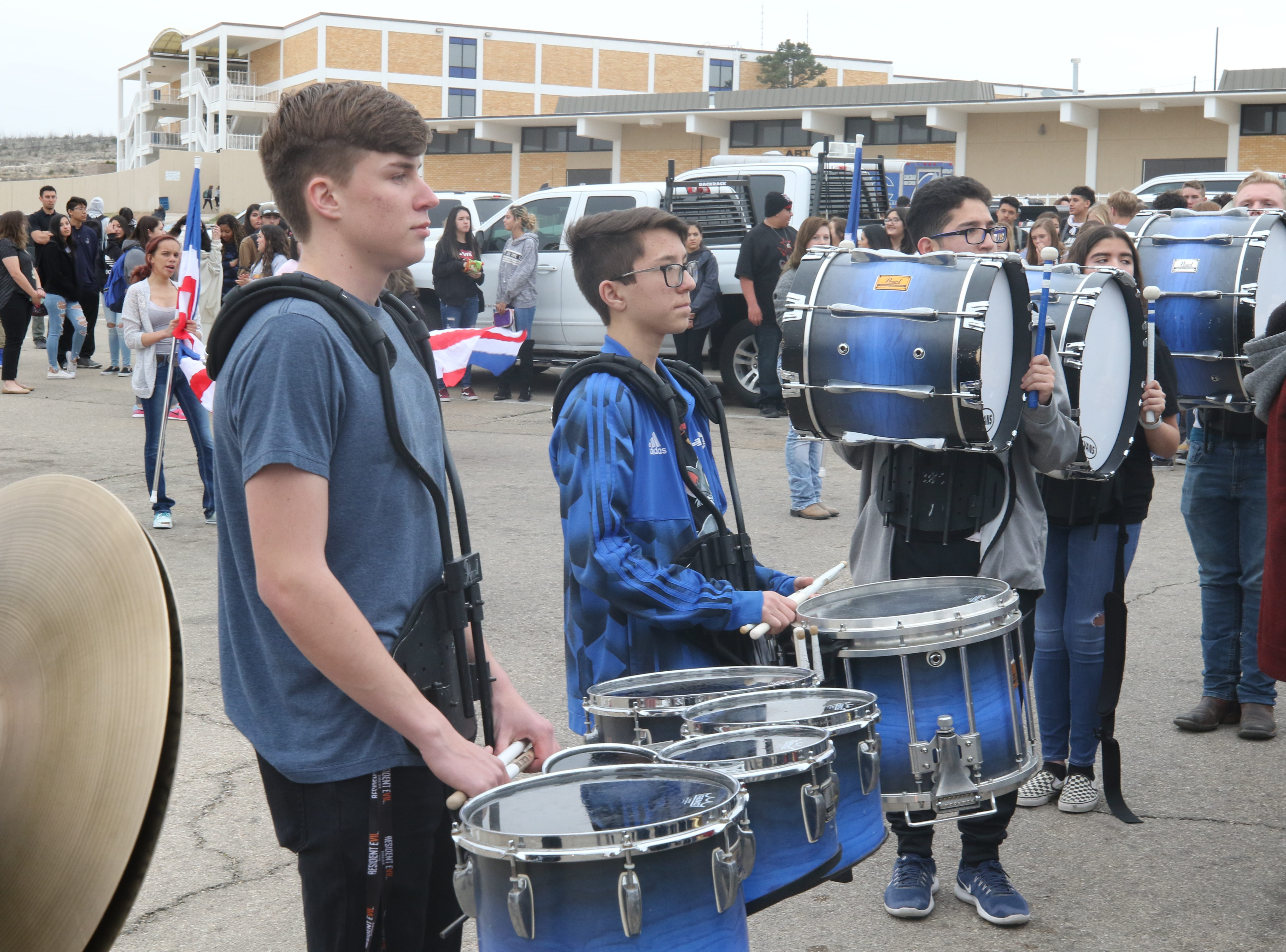 Members of the Carlsbad High School band perform during a ceremony to accept an equipment donation from XTO Energy, March 11, 2019 at Carlsbad High School.