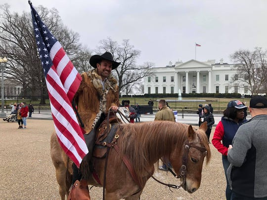 Couy Griffin outside the White House during the first Cowboys for Trump horse ride to Washington, D.C.