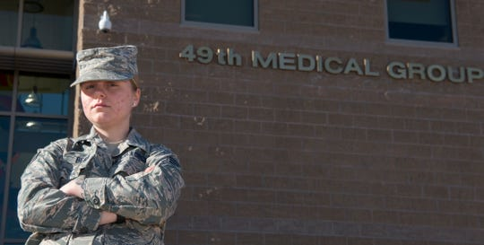 Senior Airman Hali Bean, 49th Medical Group Family Health front desk clerk, poses for a portrait, Feb. 7, 2019, on Holloman Air Force Base, N.M. Bean has been working on Holloman for almost three years and had her first encounter with a code blue this January.