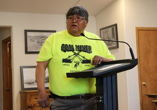 Kayenta Mine employee Alexander Osiff was among the mine workers who spoke in support of continuing its operation during the town hall meeting on Sunday at the Kayenta Township building in Kayenta, Ariz.