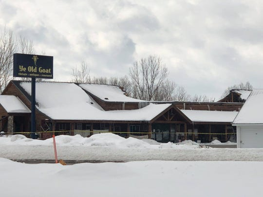 The roof of Ye Old Goat, a store near U.S. 45 that sells vintage and antique items, collapsed Sunday, March 10, 2019. No one was inside the building at the time.