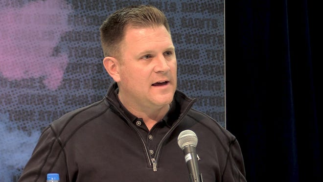 Packers general manager Brian Gutekunst fields questions at the scouting combine.