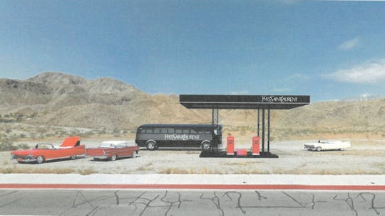 The proposed Yves Saint Laurent cosmetics pop-up in Cathedral City will look similar to a gas station from the exterior and feature classic cars. It has been approved during the first weekend of the 2019 Coachella Valley Music and Arts Festival.