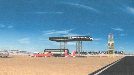 The proposed Yves Saint Laurent cosmetics pop-up in Cathedral City will look similar to a gas station from the exterior. It has been approved during the first weekend of the 2019 Coachella Valley Music and Arts Festival.