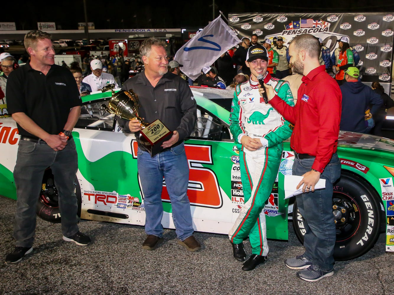 Michael Self (25), of Salt Lake City, is interviewed after winning the ARCA Pensacola 200 race presented by Inspectra Thermal Solutions on Saturday, March 9, 2019, at Five Flags Speedway. He started the race in the number two position.