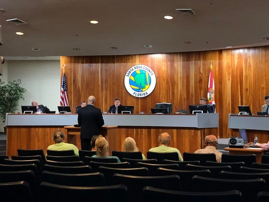 Jonathan Cole, chairman of the Navarre Area United Political Action Committee, speaks before the Santa Rosa County Board of County Commissioners at Monday morning's commission committee meeting. Cole wants the county to consider a non-binding referendum on the 2020 ballot.