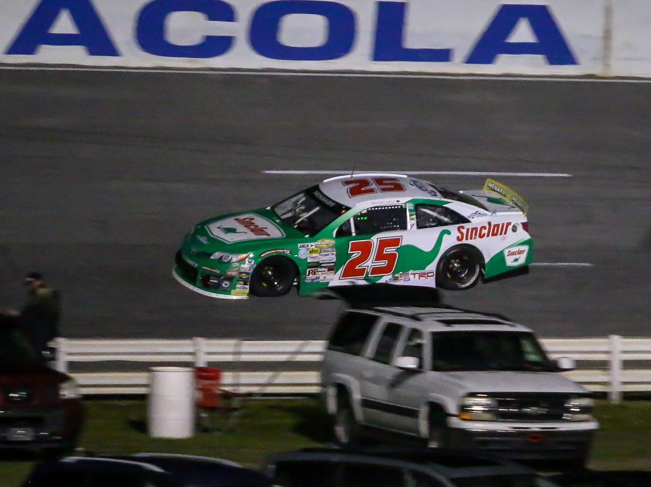 Michael Self (25) makes his way around the track during the ARCA Pensacola 200 race presented by Inspectra Thermal Solutions on Saturday, March 9, 2019, at Five Flags Speedway. He started the race in the number two position and went on to win the race.
