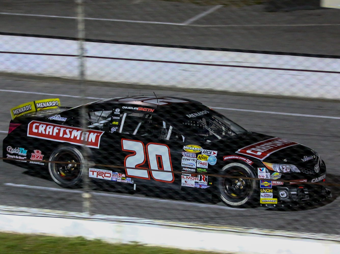 Chandler Smith (20) speeds past the grandstands during the ARCA Pensacola 200 race presented by Inspectra Thermal Solutions on Saturday, March 9, 2019, at Five Flags Speedway. Michael Self, of Salt Lake City, won the race.