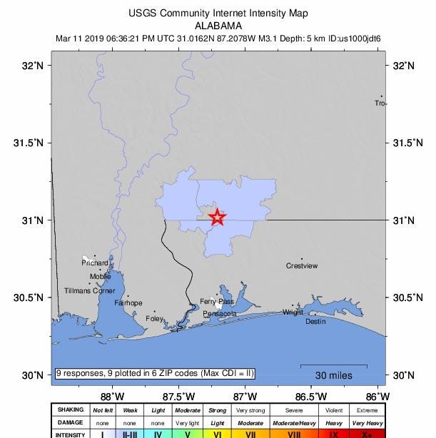 Earthquake hits Flomaton days after quake reported in Jay