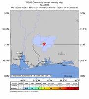 A 3.1 magnitude quake hit Flomaton, Alabama, on Monday afternoon, according to the U.S. Geological Survey.