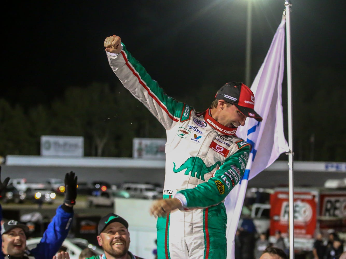 Michael Self (25), of Salt Lake City, celebrates after winning the ARCA Pensacola 200 race presented by Inspectra Thermal Solutions on Saturday, March 9, 2019, at Five Flags Speedway. He started the race in the number two position.
