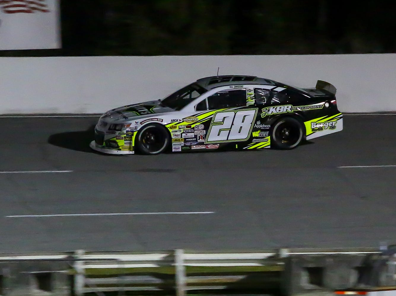 Caron Hocevar (28) makes his way around the track during the ARCA Pensacola 200 race presented by Inspectra Thermal Solutions on Saturday, March 9, 2019, at Five Flags Speedway. Michael Self, of Salt Lake City, won the race.