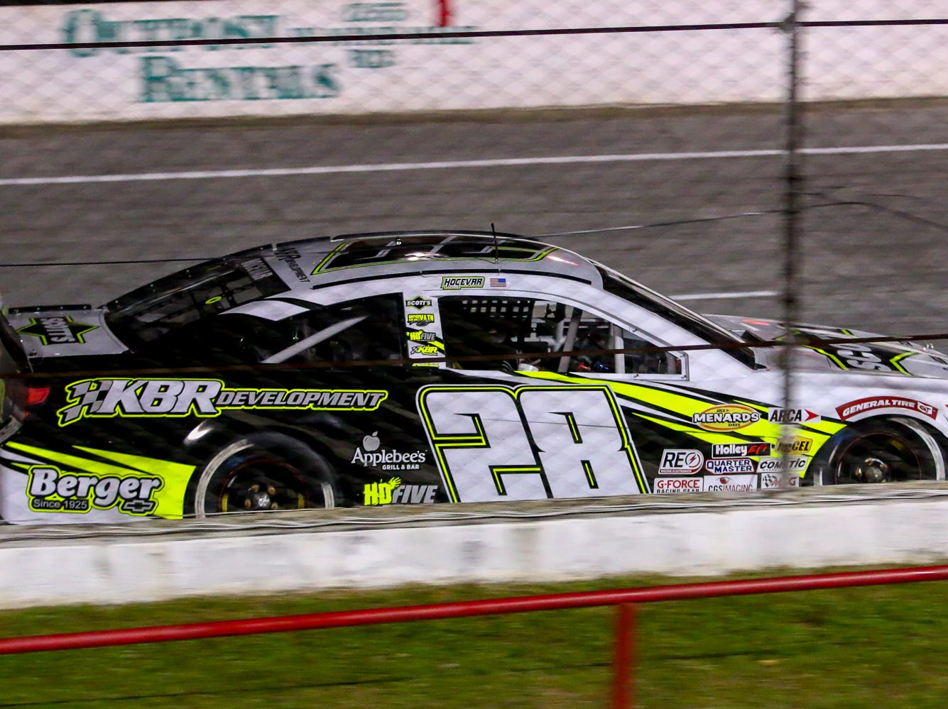 Caron Hocevar (28) speeds past the grandstands during the ARCA Pensacola 200 race presented by Inspectra Thermal Solutions on Saturday, March 9, 2019, at Five Flags Speedway. Michael Self, of Salt Lake City, won the race.