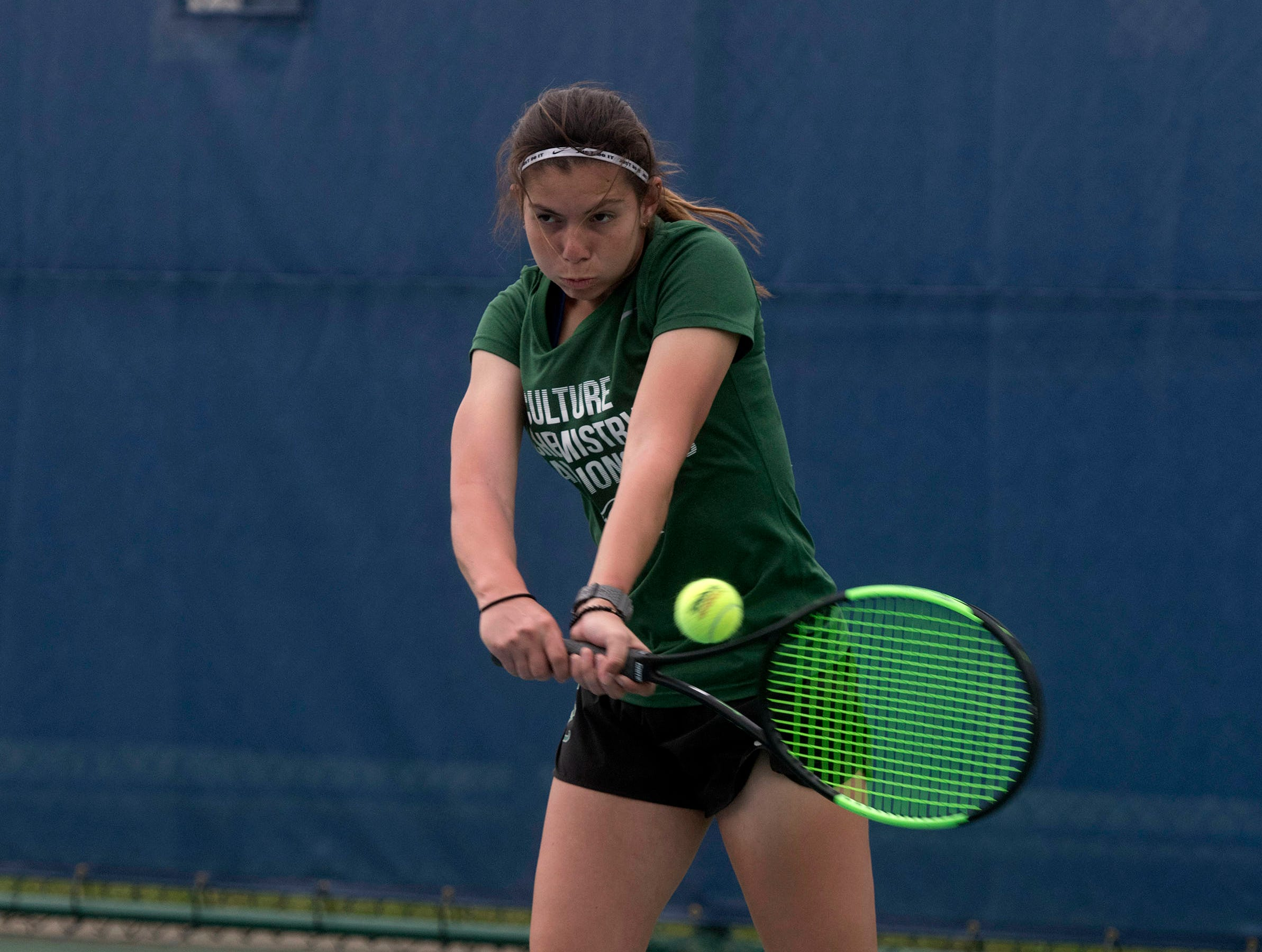 Maria Aviega from Seward County Community College, returns the serve from the Abraham Baldwin Agricultural College team during doubles play in the Western Gate Tennis Invitational tournament at UWF on Monday, March 11, 2019. Seward won the match 8-3.