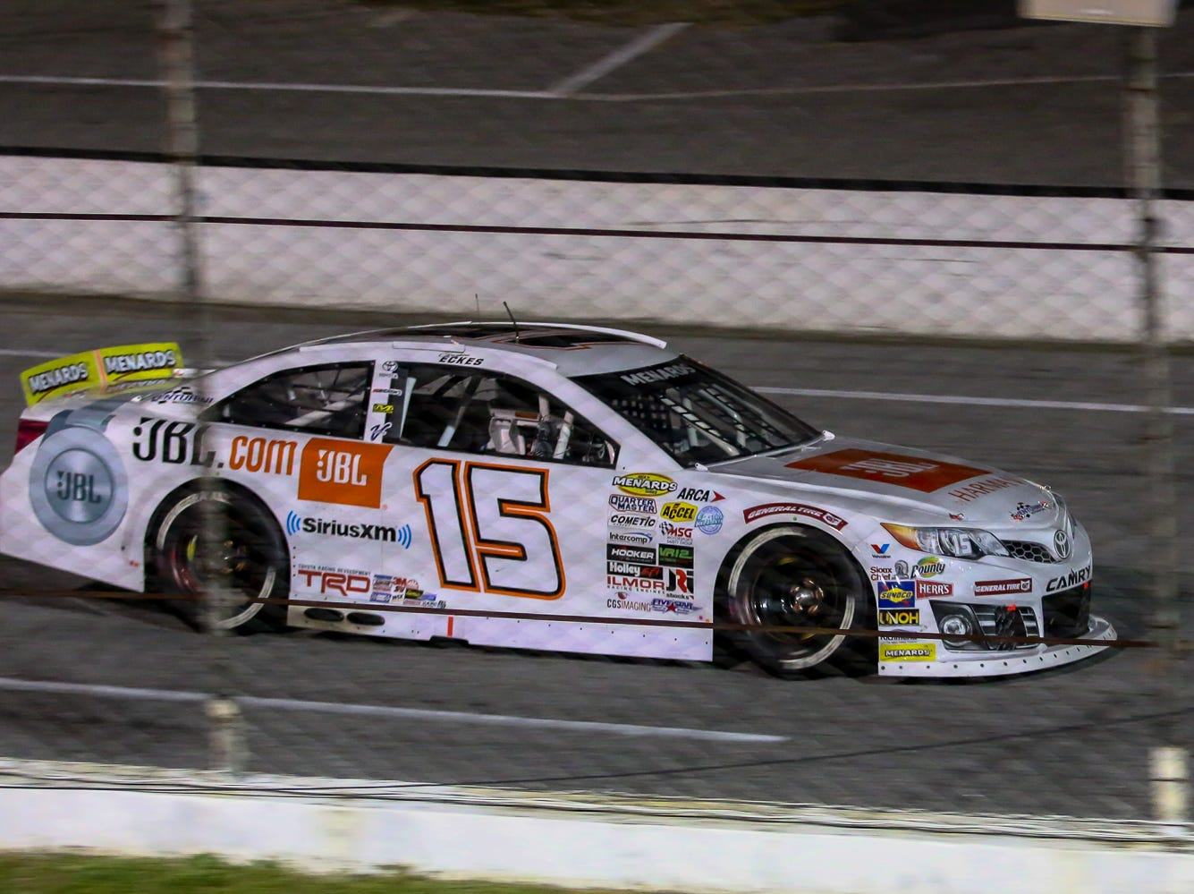 Christian Eckes (15) speeds past the grandstands during the ARCA Pensacola 200 race presented by Inspectra Thermal Solutions on Saturday, March 9, 2019, at Five Flags Speedway. Michael Self, of Salt Lake City, won the race.