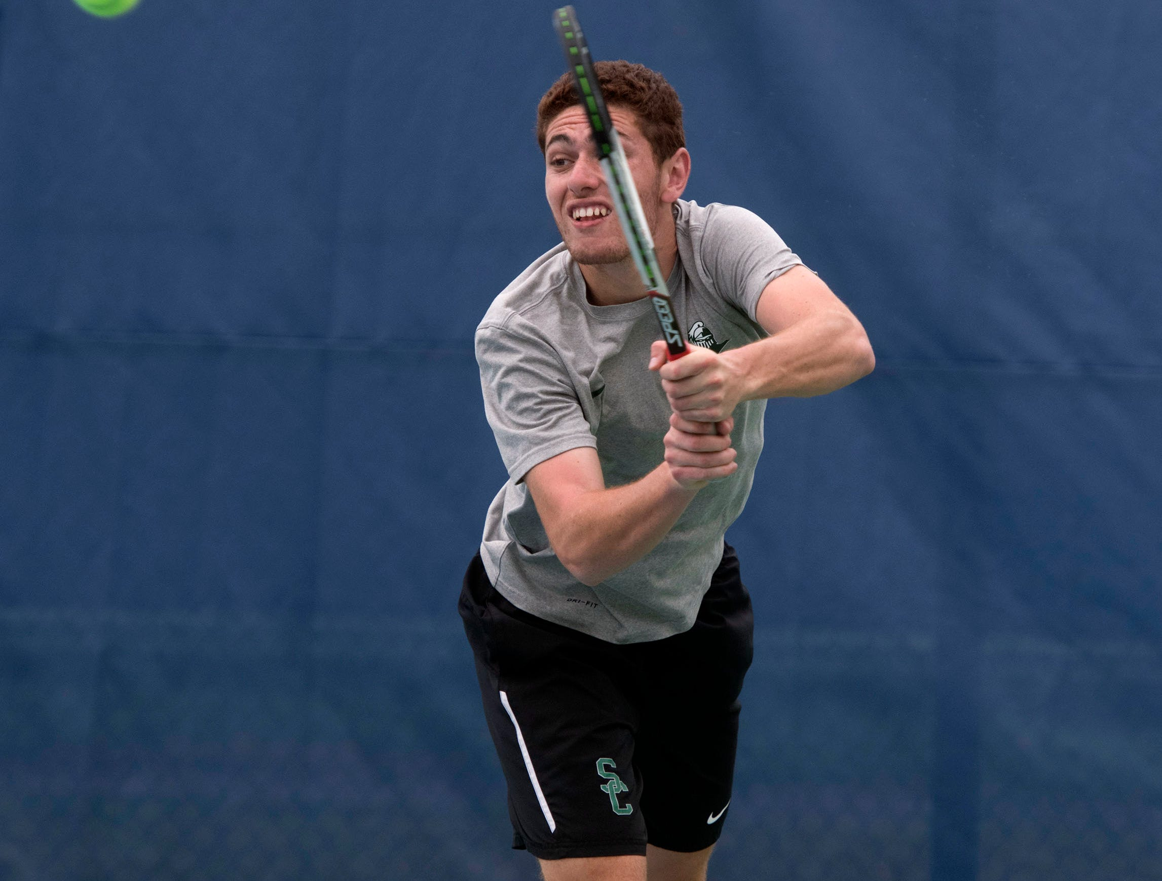 Nicolas Roussett returns the serve during doubles play against Abraham Baldwin Agricultural College during the Western Gate Tennis Invitational tournament at UWF on Monday, March 11, 2019. Seward won the match 8-6.