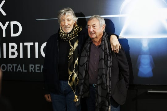 Roger Waters and Nick Mason attend 'The Pink Floyd Exhibition: Their Mortal Remains' press conference at MACRO on January 16, 2018 in Rome, Italy.