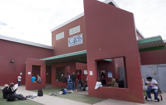 The homeless wait to be admitted into Central Arizona Shelter Services in Phoenix on February 18, 2016. The doors open at 3pm.