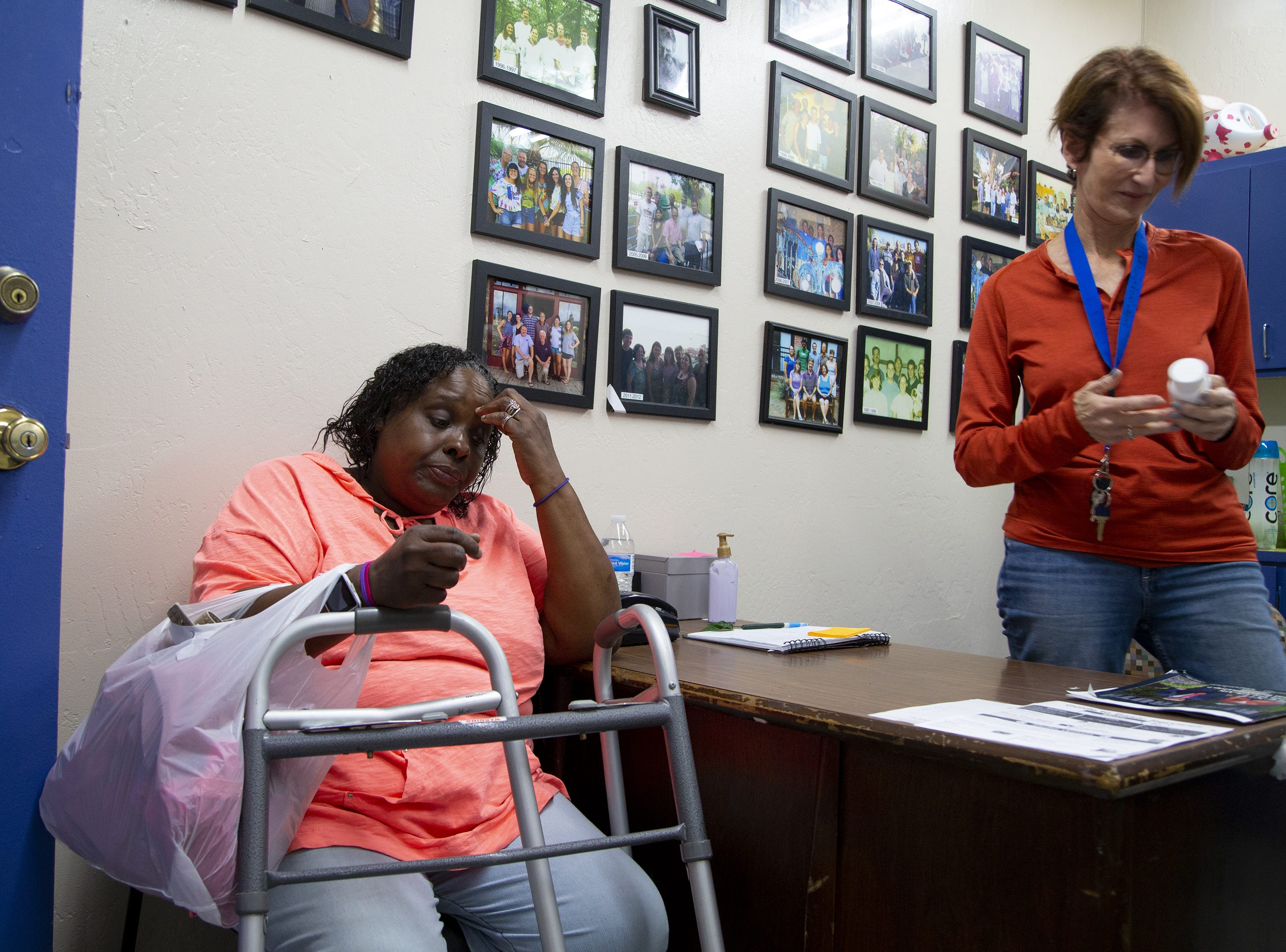 Romona Stevenson, 55, got pneumonia and went to the county hospital, Maricopa Medical Center, unable to breathe. After a week taking antibiotics, breathing treatments and hooked up to an oxygen tank, the hospital discharged her and paid for a cab to take her to the downtown Phoenix homeless shelter. There was no bed available, so she sat two nights at a bus stop outside McDonald's.  Stevenson gets assistance from volunteer Laura Ziff at Andre House of Hospitality homeless center in Phoenix.