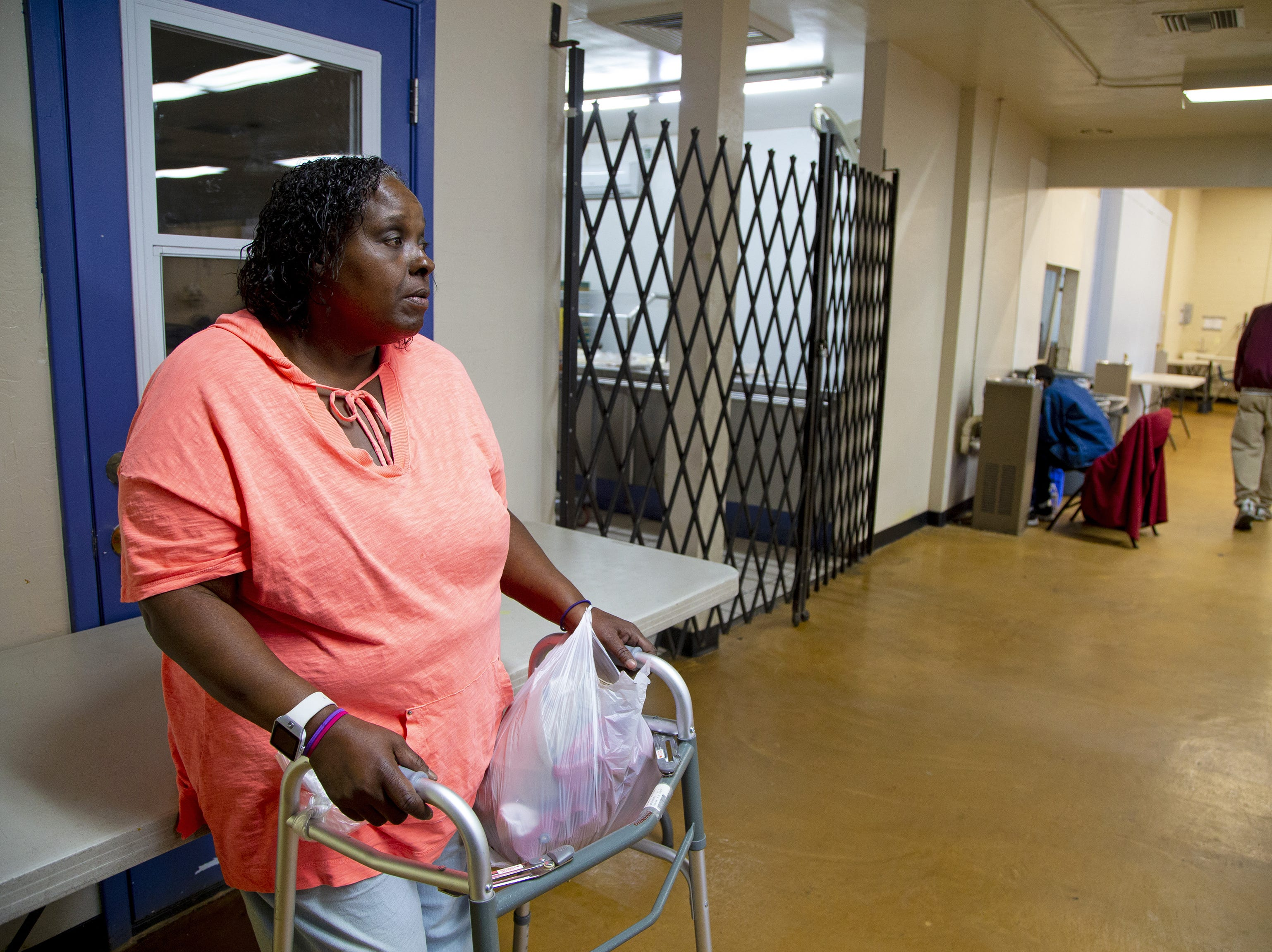 Romona Stevenson, 55, got pneumonia and went to the county hospital, Maricopa Medical Center, unable to breathe. After a week taking antibiotics, breathing treatments and hooked up to an oxygen tank, the hospital discharged her and paid for a cab to take her to the downtown Phoenix homeless shelter. There was no bed available, so she sat two nights at a bus stop outside McDonald's.  Stevenson is able to get food, clothing and a shower from Andre House of Hospitality homeless center in Phoenix.