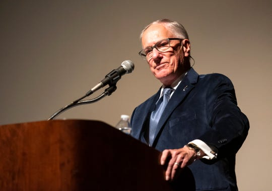 """Emmy Award-winning hockey announcer Mike """"Doc"""" Emrick speaks at the Port Huron Town Hall Monday, March 11, 2019 at McMorran Theater. Emrick is currently the play-by-play voice for NBC Sports' NHL coverage and has served as the television voice of the New Jersey Devils and has made several Winter Olympics appearances."""