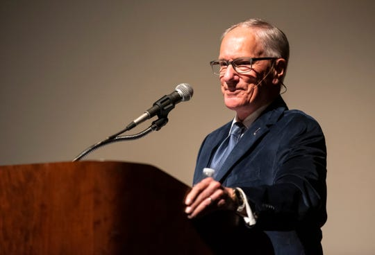 "Emmy Award-winning hockey announcer Mike ""Doc"" Emrick speaks at the Port Huron Town Hall Monday, March 11, 2019 at McMorran Theater. Emrick is currently the play-by-play voice for NBC Sports' NHL coverage and has served as the television voice of the New Jersey Devils and has made several Winter Olympics appearances."