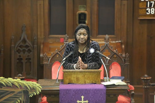 Ruth Fairlcloth, the minister of Marlboro's Faith Church of God, addresses those in attendance at Shanate's funeral service held at The Marlboro Presbyterian Church on Dec. 16, 2018. She said she took in Shanate after meeting her at the Galleria Mall.