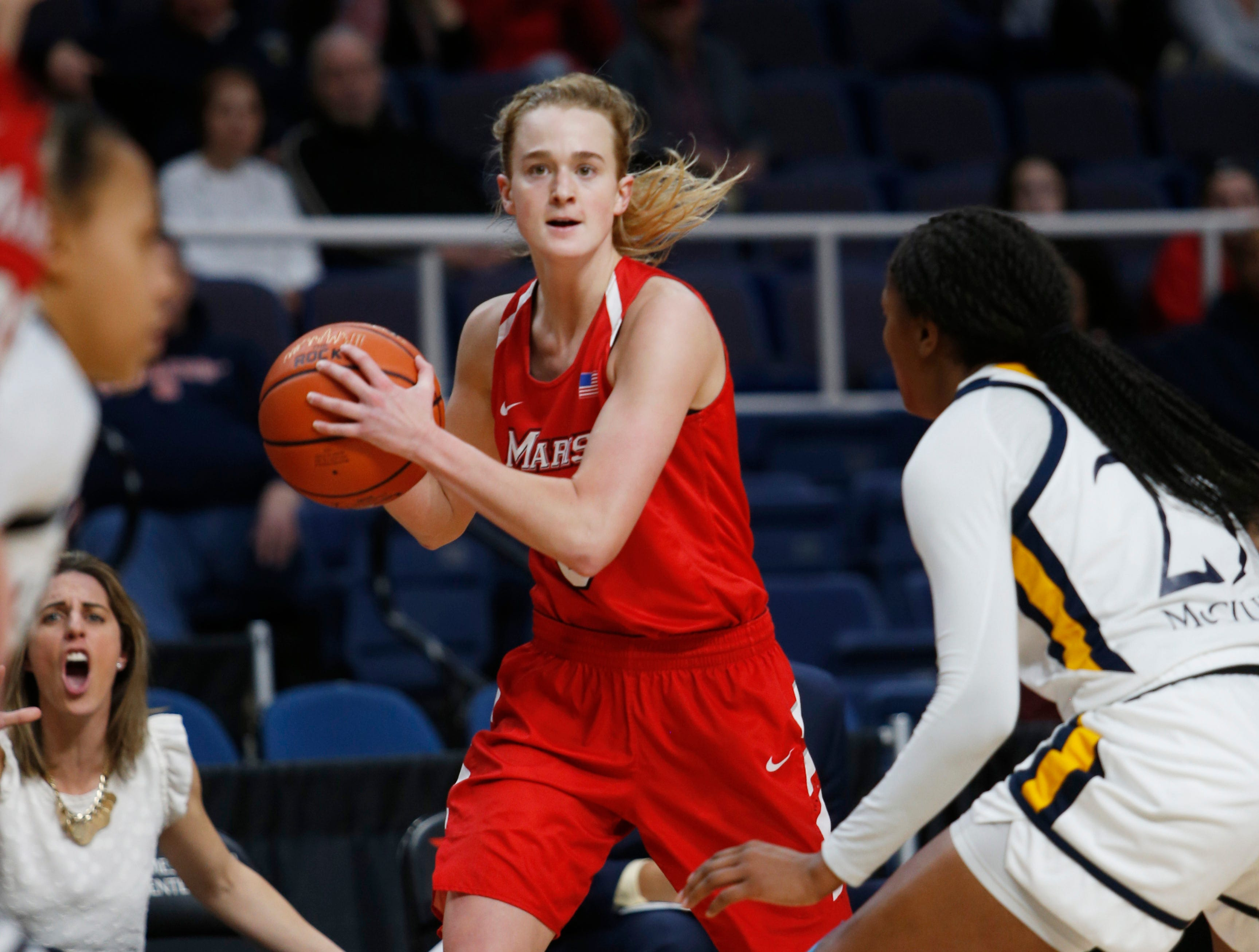 Action from the MAAC women's basketball championship between Marist College and Quinnipiac University at the Times Union Center in Albany on March 11 2019.