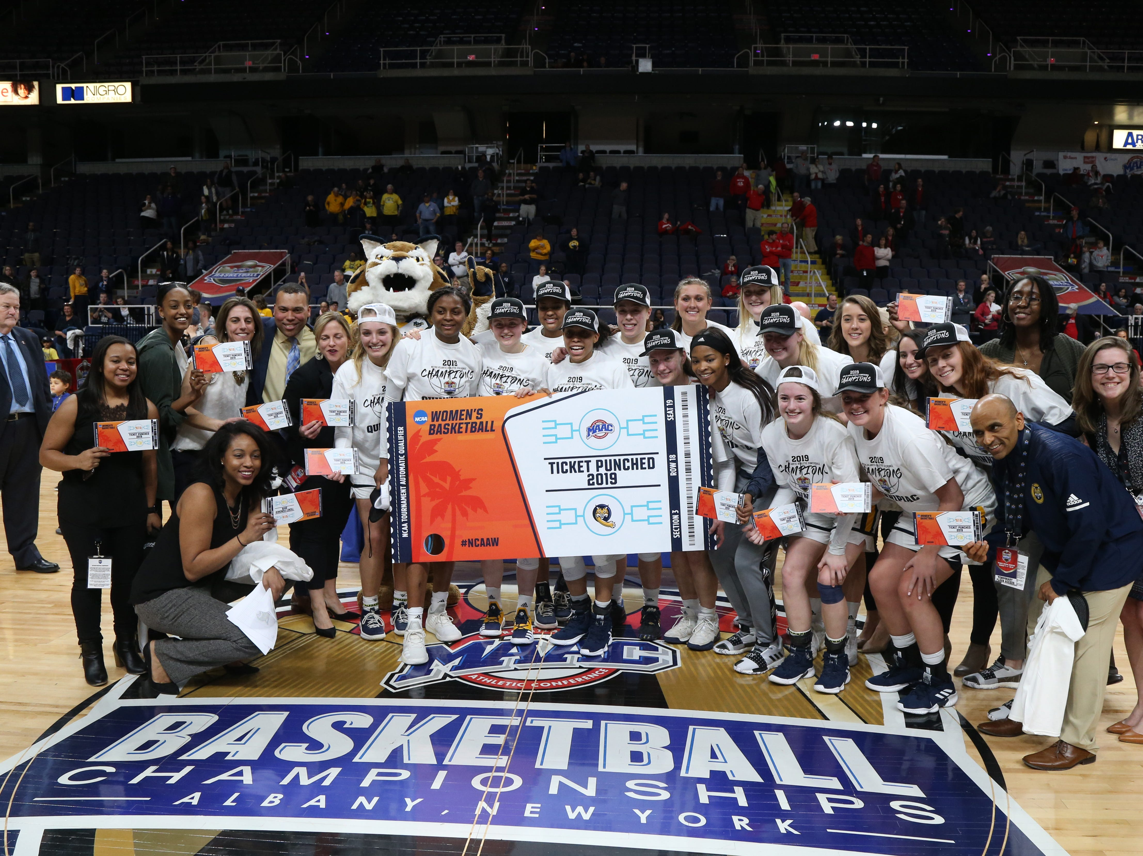 Quinnipiac women's basketball team after defeating Marist 81/51 in the MAAC championship at the Times Union Center in Albany on March 11 2019.