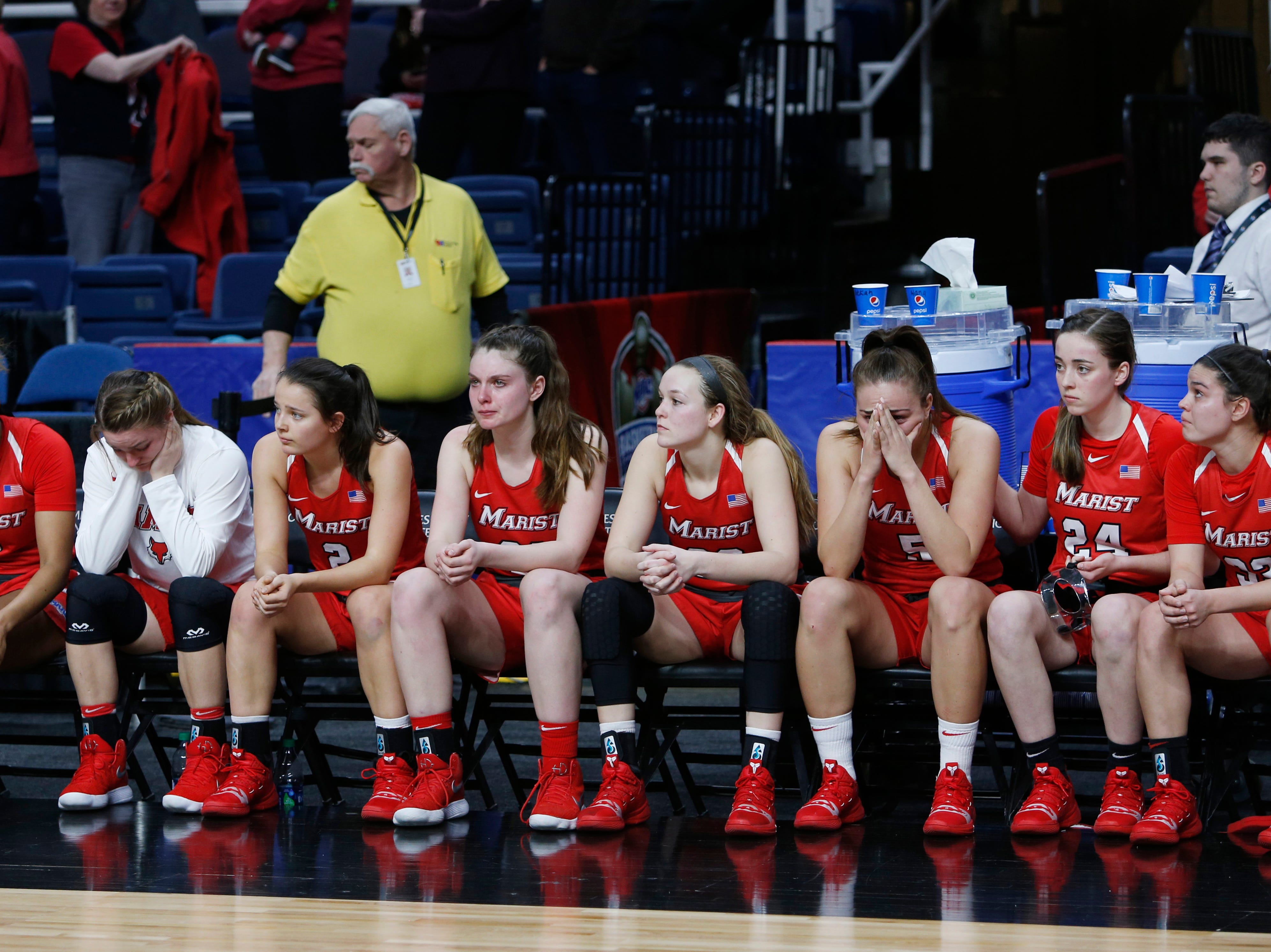 Marist's bench react to losing to Quinnipiac 81/51 in the MAAC championship at the Times Union Center in Albany on March 11 2019.