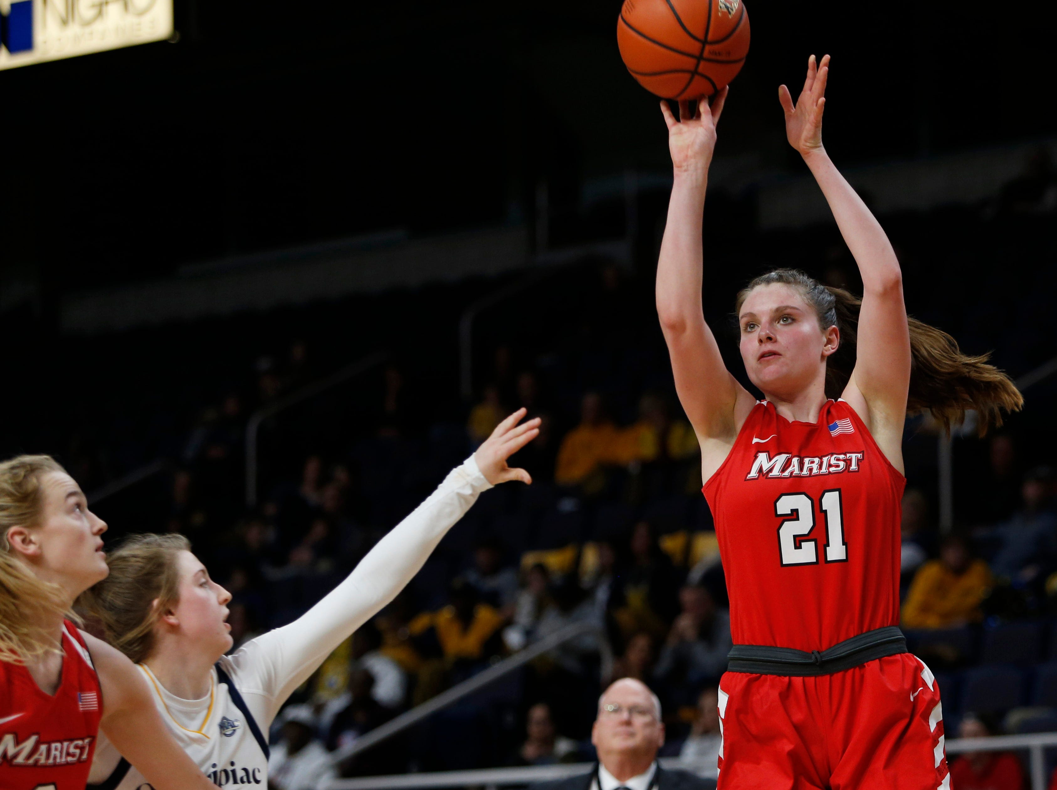 Marist's Willow Duffell takes a jump shot during the MAAC championship versus Quinnipiac in Albany on March 11 2019.