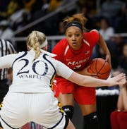 Marist College's Alana Gilmer looks to make a move during the Metro Atlantic Athletic Conference women's basketball championship game against Quinnipiac at the Times Union Center in Albany on March 11.