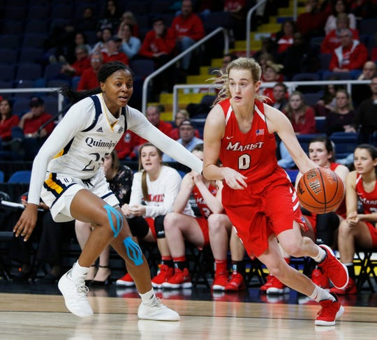 Marist's Grace Vander Weide drives to the basket against Quinnipiac at the Times Union Center in Albany on March 11.
