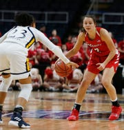 Marist's Allie Best looks to set up an offense against Quinnipiac at the Times Union Center in Albany on March 11.
