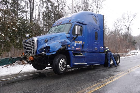 The cab of the 2017 Freightliner tractor-trailer involved in a fatal motor vehicle accident that closed Route 9 in Hyde Park on Sunday.