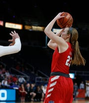 Rebekah Hand takes a jumper against Quinnipiac at the Times Union Center in Albany on March 11.